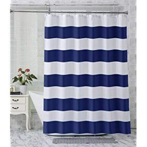 NWOT Navy Stripe Polyester Fabric Shower Curtain